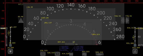 Automotive digital instrument cluster graphical design layout.