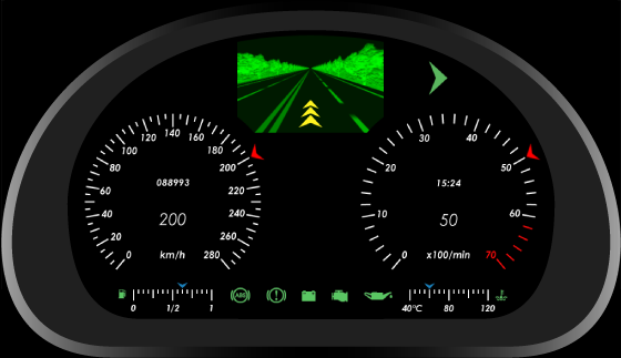 Automotive digital instrument cluster graphical design - the picture to be rendered real-time.