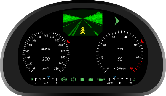 Fig. 2. Automotive virtual instrument cluster - second version.
