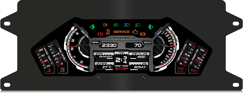 Fig. 2. Digital instrument cluster is rendering the graphics from above.